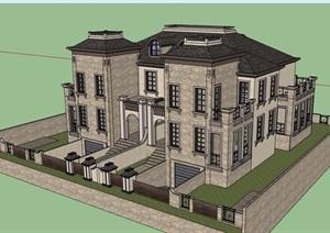某欧式风格详细的完整双拼住宅别墅SU(草图大师)模型
