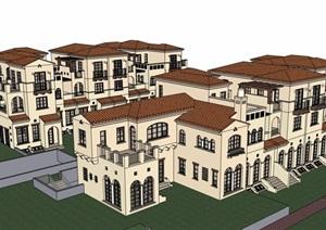 某欧式风格详细的完整住宅小区别墅SU(草图大师)模型
