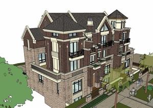 某详细的完整英式住宅别墅SU(草图大师)模型