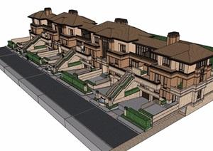 详细的欧式风格多层别墅设计SU(草图大师)模型