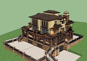 双拼详细完整的住宅多层别墅设计SU(草图大师)模型