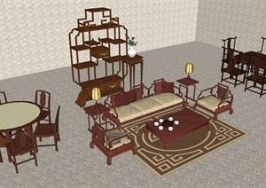 中式整體家具SU(草圖大師)精品模型