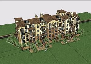 欧式风格详细的洋房住宅楼设计SU(草图大师)模型