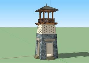 古典中式风格详细的瞭望塔素材设计SU(草图大师)模型