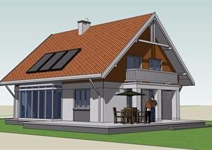 欧式风格详细的农村自建别墅SU(草图大师)模型
