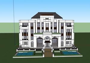 双拼欧式风格住宅别墅设计SU(草图大师)模型