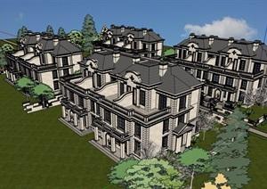 法式风格详细的小区多层别墅SU(草图大师)模型
