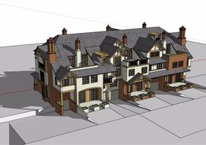 欧式整体详细的小区住宅别墅SU(草图大师)模型