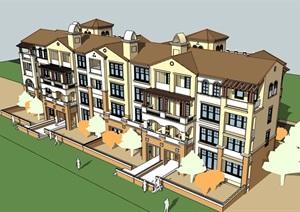 欧式风格详细的完整多层住宅楼SU(草图大师)模型