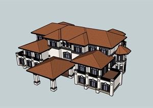 欧式风格详细的完整会所SU(草图大师)模型