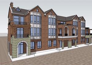 欧式风格详细的完整双拼住宅别墅设计SU(草图大师)模型