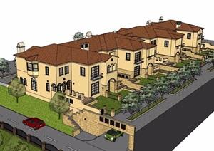 欧式风格详细的联排住宅别墅设计SU(草图大师)模型