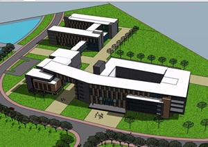 培训楼教学楼多层详细建筑设计SU(草图大师)模型