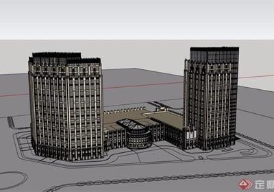 某现代风格详细的商业办公楼建筑设计su模型