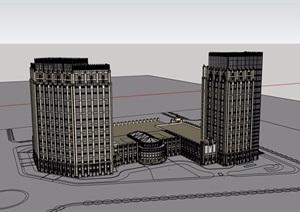 某现代风格详细的商业办公楼建筑设计SU(草图大师)模型