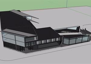 大学校园内商业多层建筑设计SU(草图大师)模型