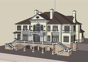 欧式风格详细的整体完整住宅别墅SU(草图大师)模型