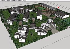 中式风格详细的小学建筑规划设计SU(草图大师)模型