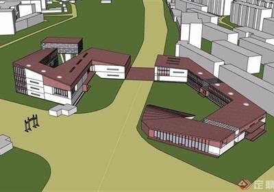 某现代风格大学整体教育建筑概念设计su模型