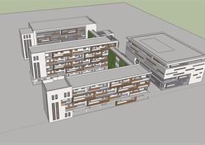 某现代风格详细的小学教育建筑楼SU(草图大师)模型