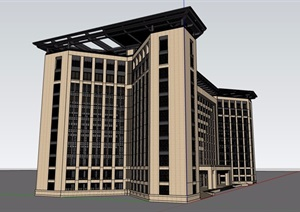 某现代风格详细的整体办公建筑楼设计SU(草图大师)模型