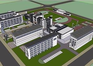 徽派风格中式中学详细多层教育建筑楼SU(草图大师)模型