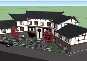 古典中式风格详细的多层餐饮建筑楼设计SU(草图大师)模型