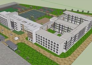 详细的现代风格小学多层详细建筑楼设计SU(草图大师)模型