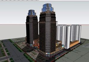 某现代风格详细的商业办公建筑楼设计SU(草图大师)模型
