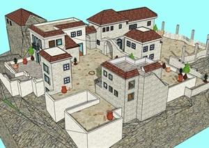 欧式风格详细的山地民居住宅楼SU(草图大师)模型