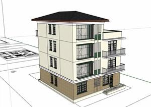 详细的三层住宅民居建筑设计SU(草图大师)模型