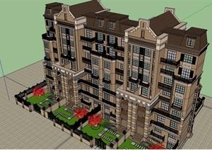 欧式风格详细的整体居住小区楼设计SU(草图大师)模型