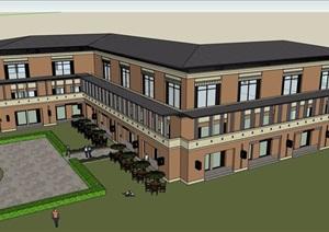 某欧式风格详细的完整三层教学楼设计SU(草图大师)模型