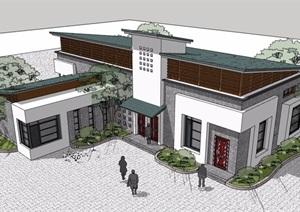 中式风格详细的单层民居住宅楼设计SU(草图大师)模型