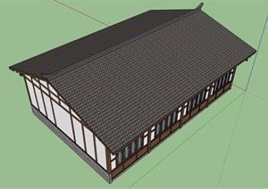 单层古典中式风格民居详细住宅楼设计SU(草图大师)模型