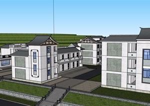 某中式风格详细的民族小学建筑楼设计SU(草图大师)模型