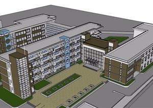 某现代风格详细的多层学校教育教学楼建筑SU(草图大师)模型