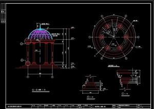 圆形欧式详细亭素材设计cad施工图
