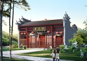 某古典中式风格旅游建筑设计SU(草图大师)模型及效果图