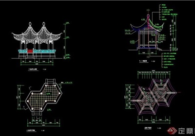 古典中式風格詳細的完整亭子素材設計cad施工圖