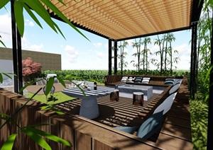 现代露台花园景观设计SU(草图大师)精品模型