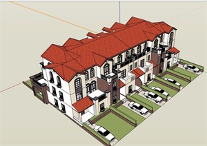 详细的完整欧式风格联排别墅设计SU(草图大师)模型