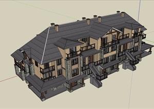 整体详细的多层欧式风格别墅设计SU(草图大师)模型