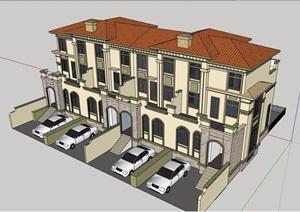 欧式风格双拼小区住宅别墅设计SU(草图大师)模型