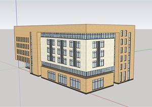 某现代风格多层学校教育建筑楼SU(草图大师)模型