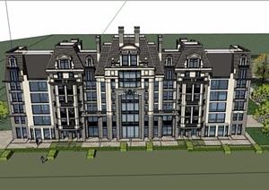 法式多层联排详细完整的精致别墅SU(草图大师)模型