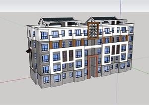 多层中式风格详细的住宅建筑楼设计SU(草图大师)模型