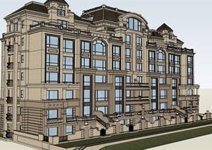 欧式风格详细的多层洋房住宅楼SU(草图大师)模型