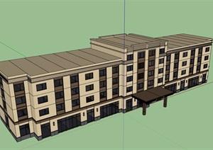现代风格详细的四层宾馆建筑楼设计SU(草图大师)模型