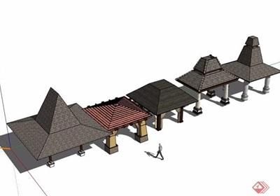 五種東南亞風格涼亭素材設計su模型